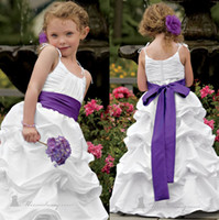 Wholesale SSJ New Fashion Spaghetti Straps White Cupcake Ball Gown Pleats Sleeveless Cute Flower Girl Dresses with Purple Bowknot Belt at Back