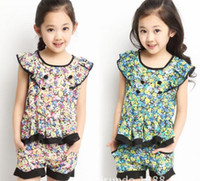 Girl Summer Short 2014 Summer Clothing Girls Casual Sets Korean Floral t shirt + pants 2pcs Kids Outfits Children SuitTAOZHUANG029