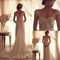 Wholesale Winter Luxury Anna Campbell Gossamer Wedding Dress With Glove Scoop Off Shoulder Beaded Bodice Floor Length Chiffon Gowns dhyz