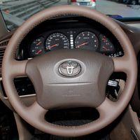 Wholesale Xuji Steering Wheel Cover for Old Toyota Land Cruiser Prado Lexus LX450 LX470 Hand stitched Black Dark Brown Genuine Leather Wheel Covers