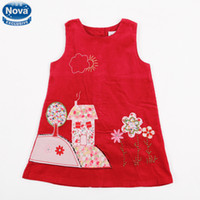 TuTu Summer Ball Gown New Summer Wholesale Nova Baby Girls Red Princess Dresses Kids Vintage Clothing Girls Floral TuTu Dress Sleeveless Clothes H3610