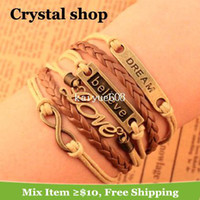Wholesale New Design believe dream love Infinity cross bracelet Charm Leather Multilayer Bracelet jewelry