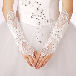Wholesale In stock Hot White Bridal Wedding Gloves Crystal Lace and Stain Wedding jewelry Pure white fingerless gloves
