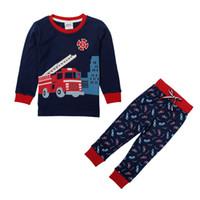 Wholesale AB4749 Nova dark blue Kids pajama sets baby boys long sleeve pajamas for winter car print kids sleepwear pajamas