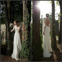 A-Line Reference Images Scoop Berta 2014 Illusion Neck Long Sleeve Sheer Back Beaded Appliques Chiffon Summer Beach Wedding Bridal Gowns Backless A-Line Wedding Dresses