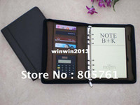 Wholesale HOT leather notebook spiral notebook organizer notebook with calculator