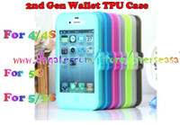For Apple iPhone TPU Yes Newest 2nd Touch screen Flip Book Wallet TPU Gel Silicone case Clear Forsted Matte SKin Full cover cases For Iphone 4 4S & 5 5S & 5C 100pcs