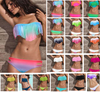 Wholesale Hot Women s Fringe Bikini Swimwear Solid amp Ombre Fringe Strap Halter Padded Girl Lady Swimming Swimsuit bathing Suit Top amp Bottom pieces