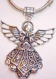 Wholesale MIC Antique Silver Large Filigree Angel Focal Dangle Bead Fit European Style Charm Bracelets x mm z094
