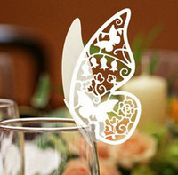 Wholesale 120pcs Laser Cut Butterfly Place Card Escort Card Wine Glass Card Wedding Party Decoration wd100