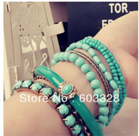Wholesale Hot Retro BOHO Style Mix Multilayer String of Beads Bracelet Bangle Couple Gift