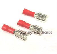 Wholesale 1000 mm Red FEMALE INSULATED ELECTRICAL SPADE CONNECTOR TERMINALS WIRING CRIMP AWG