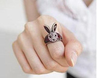 bunny jewelry - vintage red wine full drill long ears bunny head ring jewelry influx of people ring diamond ring w031