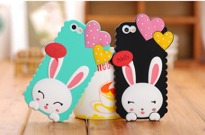 Buy Cartoon cell phone case 3D lovely Heart Rabbit soft Silicon Case iPhone 4 4s iphone 5 5s