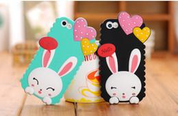 Nueva caja del teléfono celular de la historieta Funda de silicona suave precioso conejo corazón 3D para el iPhone 4 4s para el iphone 5 5s desde casos del corazón iphone 4s proveedores