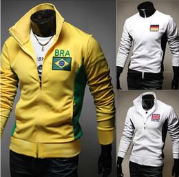 Wholesale 2014 new arrive Men s Baseball jacket Embroidery flag men s jacket slim men s coats men s outwear yellow