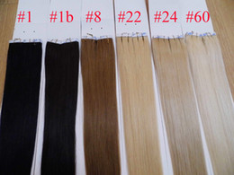 """100g 40pcs 18"""" 20"""" 22"""" 24"""" 4# Glue Skin Weft Tape in Human Hair Extensions INDIAN REMY 015"""