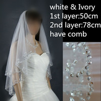 Wholesale 2016 Two Layer with Comb Attached Beaded Edge White Ivory Bridal Veil Real Image Bridal Accessory