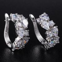 Wholesale Fancy White Sapphire Crystal Gemstone K Gold Plated Big Huggie Hoops Wedding Earrings for Women