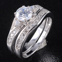 Wholesale Brand New Women s Silver Filled White Sapphire Crystal Stone Wedding Ring Set Size