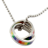 Wholesale fashion new rainbow necklaces amp pendants stainless steel rainbow gay pride jewelry High quality