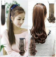 Wholesale Easy Clip in Ponytail Hair Piece Pony Wig Hair Extension Synthetic Black Brown Long Curly Wavy hair ponytails hairpieces