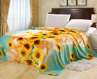 100% Polyester Home Adults Euphoria Super Soft Plush Fleece Throw Blanket Bedspread Teal Gold Yellow Sunflower Design Queen King Sizes