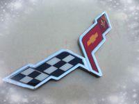 Wholesale Chrome Metallic Crossed Flag Emblem car sticker