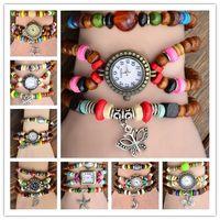 beads fashion watches - Fashion Vine Beads Bracelet Rope Watch Retro Charm women Genuine leather Quartz Wrist Watches DHL