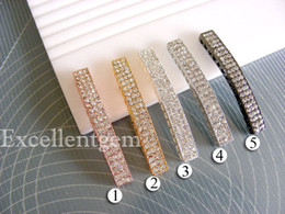 SALE 10pcs,Bulk price,High quality curver Metal bracelet connector bar with 3 rows crystal rhinestone - 7mmx49mm