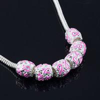 al por mayor brazaletes de color rosa del conocimiento del cáncer-50Pcs, cuentas de plata de la cinta del esmalte de plata Conciencia del cáncer de pecho Los granos flojos cupieron la pulsera del encanto