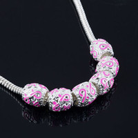 Alloy 9mmx9mm Pink 50Pcs,Silver Enamel Pink Ribbon Beads Breast Cancer Awareness Loose Beads Fit Charm Bracelet