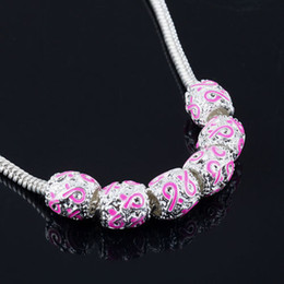 50Pcs,Silver Enamel Pink Ribbon Beads Breast Cancer Awareness Loose Beads Fit Charm Bracelet