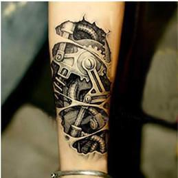 Wholesale Terminator armor dimensional mechanical parts mechanical tissue biochemical monochrome tattoo stickers waterproof tattoo sticker M