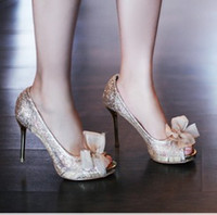 Women Pumps Spring and Fall New 2014 summer pumps hot-selling open toe nude color lace sexy all-match women's shoes bridal shoes wedding shoes Free shipping