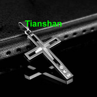 Wholesale Titanium Necklaces High Quality Men Hollow Out Cross Necklace Fashion Jewelry Crystal Rhinestone Pendant Retail