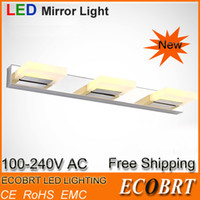T8 22w SMD 3528 ECOBRT New Items High Grade Stainless Steel LED Mirror Bathroom Wall Light lamps for home Indoor lighting 6W 9W 12W 15W 220v