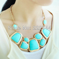 Chokers Women's Fashion New Fashion Costume Jewelry Big Size High Quality Blue Collar Statement Necklace For Women 2014