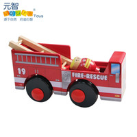 5-7 Years Car Wooden Free shipping Wood Simulation Fire truck Funny Villain model Children Wooden Car Model Toy