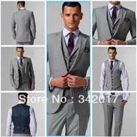 Wholesale custom made suits Light Grey Groom Tuxedos Suits custom wedding groom wear dress vest mens suits wedding groom