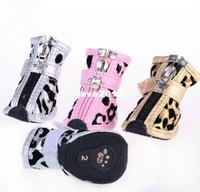 Compra Zapatos de pp-¡NUEVO! De gran tamaño zapatos perro de mascota botines, PU suave de arranque, leopardo del animal doméstico impermeable, 4pcs / set, 3 colores, 5 tamaños, mayor que envían libremente