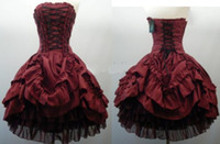 Wholesale LK Hot Sale Strapless Corset Back Short Ball Gown Layered Taffeta Tulle Gothic Wedding Dresses Burgundy and Black Party Prom Dress