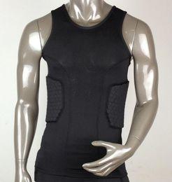 Wholesale Men s Body Armour Honeycomb Crashproof Basketball Sport Sleeveless T shirt Tops