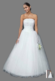 Wholesale New White Strapless Tulle Ball Gown with Beaded Satin Bodice Floor length Style NT8017