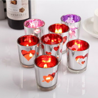 glass candle holder - Romantic Glass Candle Holder LOVE Heart Tealight Candlestick Wedding Decoration Party Favors SH273