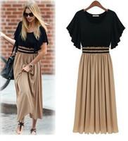 Wholesale Europe new Woman s Fashion Summer STUINC Rouched Dolman Sleeve Pleated Cotton chiffon Long Maxi Plus size dress s xxxl