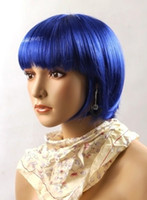 Wholesale Cosplay Party Full Wigs Ball fans Wigs Cheapest Blue Wigs Womens Girls Short Straight Synthetic Wigs