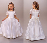 Wholesale BM First Communion Dress Flower Girls Dresses A Line Jewel T Shirt Short Sleeve Bow Lace Embroidery Ankle length Beauty Girl Dress