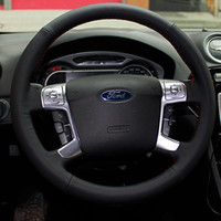 Wholesale Steering Wheel Cover For Ford Mondeo Mk4 Ford S Max SMAX XuJi Car Special Hand stitched Black Genuine Leather Covers