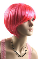 Wholesale Cosplay Party Full Wigs Ball fans Wigs Cheapest Pink Wigs Womens Girls Short Straight Synthetic Wigs